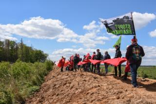 Demonstrators forming a red line on the edge of the forest