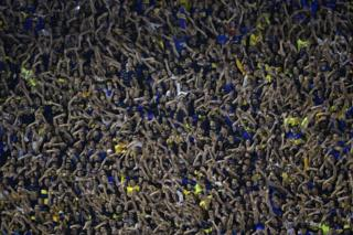 A crowd of cheering football supporters