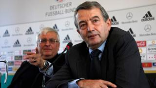 Wolfgang Niersbach (R), general secretary of the German soccer association (DFB) and designated successor of DFB president Theo Zwanziger (L) - archive pictures
