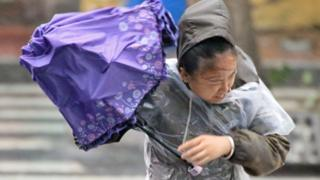 A woman holds an umbrella against the wind and rainfall brought by Typhoon Lekima in Yantai, Shandong