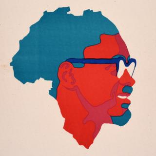 An Ospaaal poster, entitled Day of Solidarity with the Congo, 1972, showing the face of Patrice Lumumba over a map of Africa