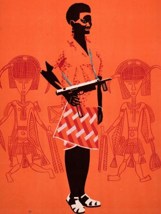 An Ospaaal poster, entitled Day of Solidarity with the People of Guinea-Bissau and Cape Verde, 1968 showing a woman with a gun