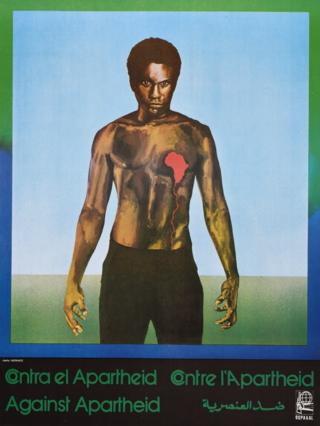 An Ospaaal poster entitled South Africa - Against Apartheid, 1982, showing a man with a bear chest and bleeding heart shaped like Africa