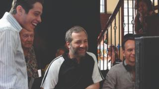 Judd Apatow and Pete Davidson on-set