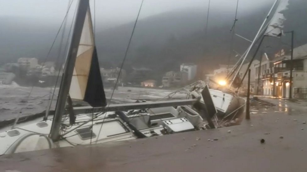 Boat battered by medicane in Kefalonia, Greece, 18 Sep 20