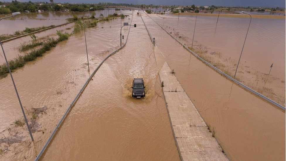 Flooded roads in the village of Artesiano, in central Greece, September 19, 202